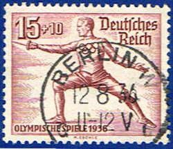 Germany B87 Stamp - 1936 Olympic Fencing Stamp - EU GER B87-2 USED