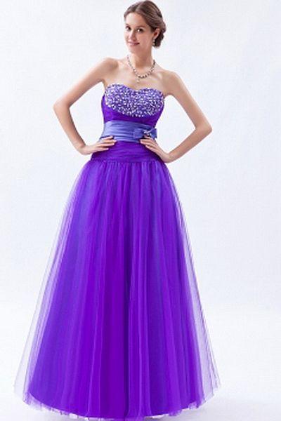 Satin Violet A-Ligne De Robe Formelle rdc1335 - Silhouette: Une Ligne-; Tissu: Satin, Embellissements: Perles, Bowknot, Écharpe, Paillettes, Longueur: Longueur Au Sol - Price: 163.25 - Link: http://www.robesdeceremonies.com/satin-violet-a-ligne-de-robe-fo