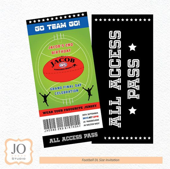 Football Themed  AFL  DL Size Invitation / by JoStudioPartyPaperie, $15.00