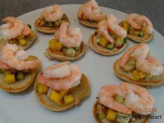 Gæstemiddag, forret: blinis med forskellig topping……… Mango melon agurke salsa