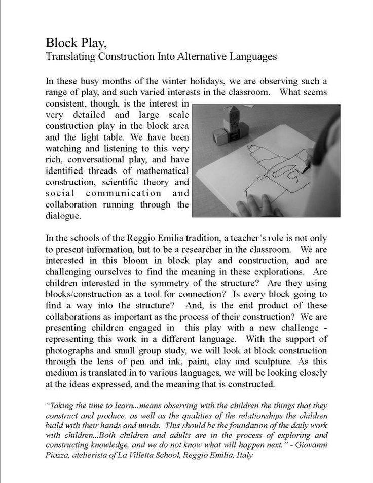 teacher as researcher - a study of block play at Garden Gate Child Development Center