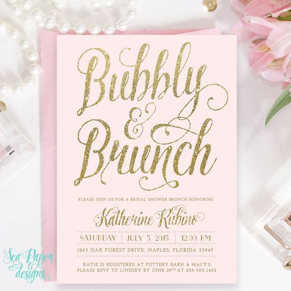 ava bubbly u0026 brunch invitation gold digital shower