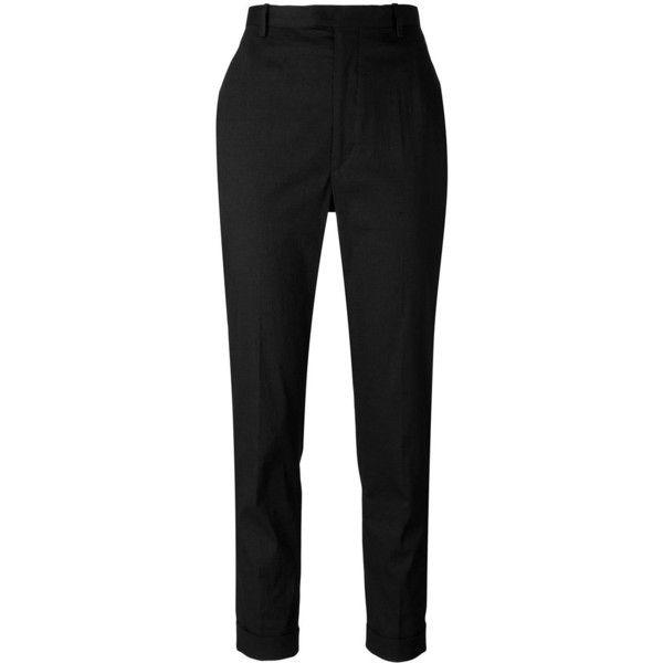 Isabel Marant Étoile cropped cigarette trousers (1.265 RON) ❤ liked on Polyvore featuring pants, capris, trousers, black, straight leg trousers, cropped trousers, cigarette trousers, cropped pants and cropped capri pants