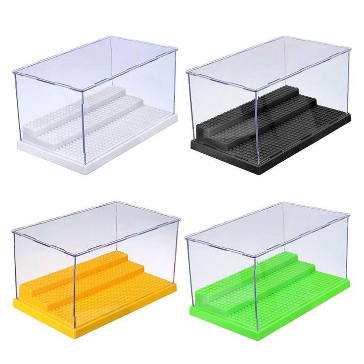 25.5X15.5X13.8cm 3 Steps Display Case/Box Dustproof ShowCase Gray Base For LEGO Blocks Acrylic Plastic Display Box Case