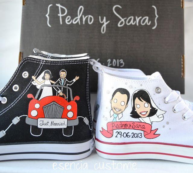 Esencia Custome: Zapatillas personalizadas #boda - Custom sneakers #wedding