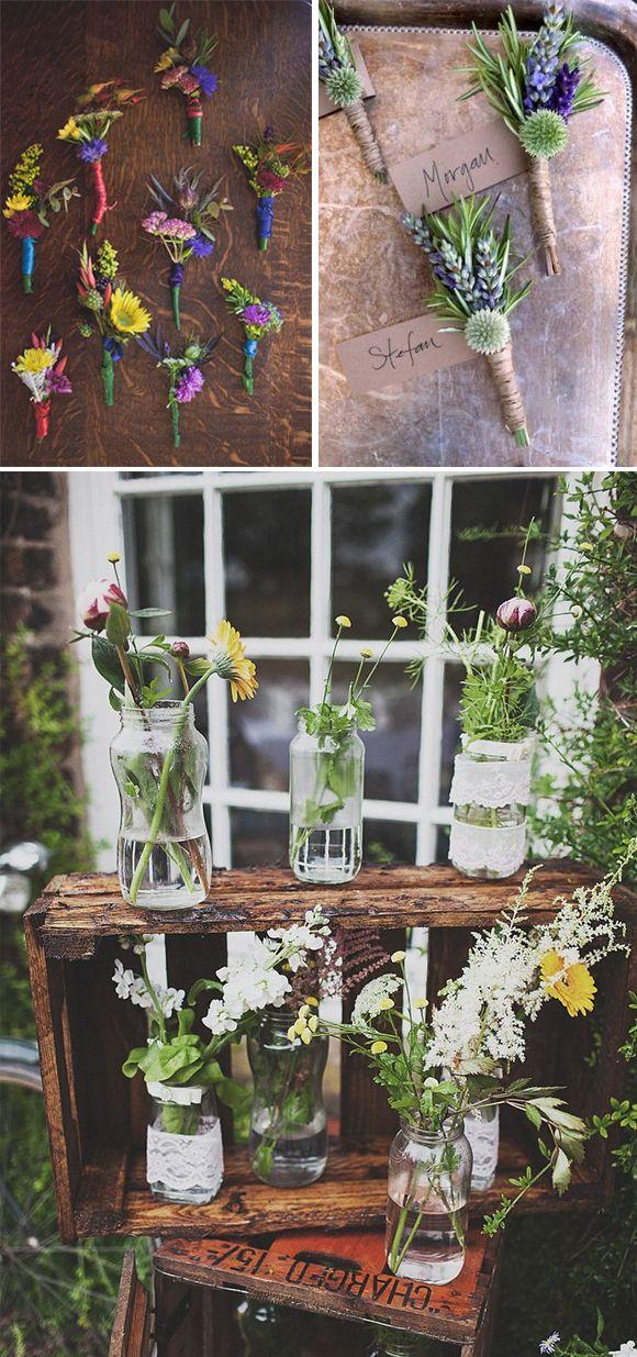 Flores silvestres en las bodas boutonier prendido caja madera