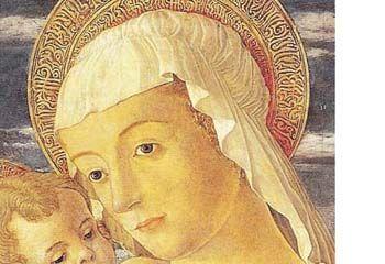 Jacopo da Montagnana, Madonna col Bambino, ottavo decennio del XV secolo, particolare. Ospedaletto Euganeo, Santuario di Santa Maria del TrestoSerena Franzon – OADI – Rivista dell'Osservatorio per le Arti Decorative in Italia