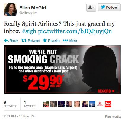 Spirit Airlines takes advantage of Rob Ford scandal to offer 'We're Not Smoking Crack!' deals to Toronto.