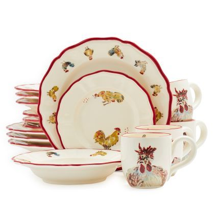 Jacques Pépin Collection 16-Piece Chickens Dinnerware Set | Sur La Table