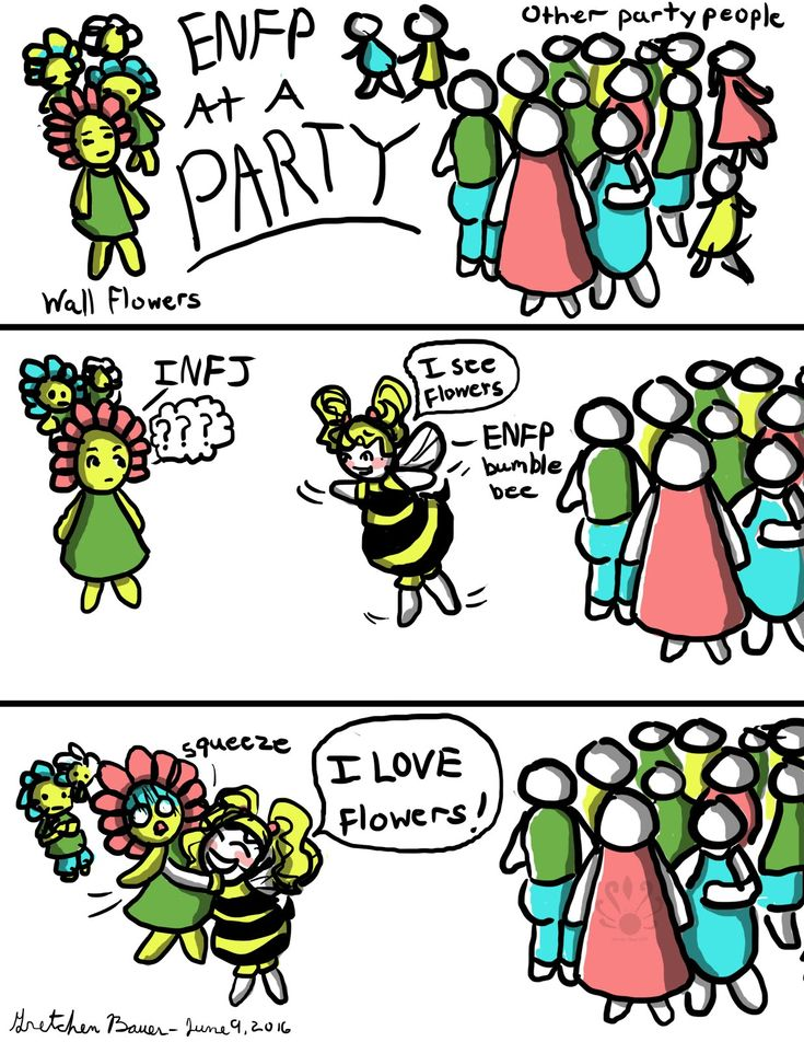 "The artists name is Gretchen too.... ""ENFP+Bumble+Bee+Party XD This is so true unless I'm being a wallflower myself because of anxiety"""