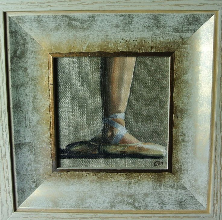 #Ballet Shoes, #Ballerina #Painting, #Miniature, Framed Ready to Hang Original by AJ #Impressionist