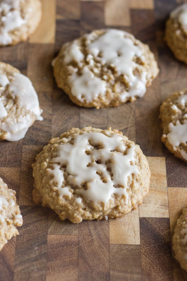 Maple Glazed Iced Oatmeal Cookies