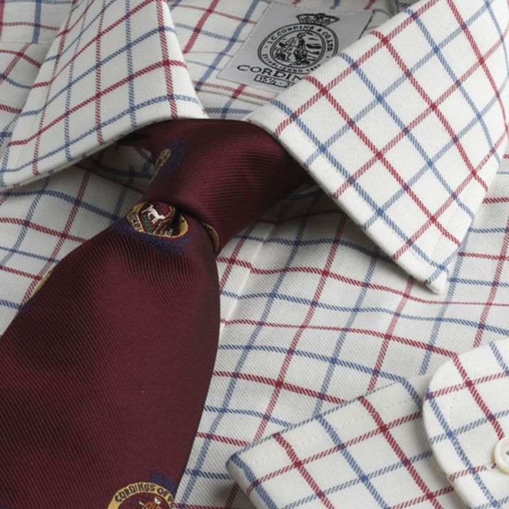 Cordings - Red Blue Medium Check Brushed Cotton Shirt £65