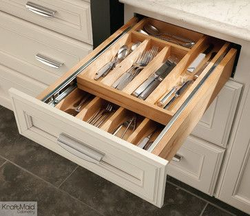 KraftMaid: Wood Tiered Drawer Storage transitional-cabinet-and-drawer-organizers