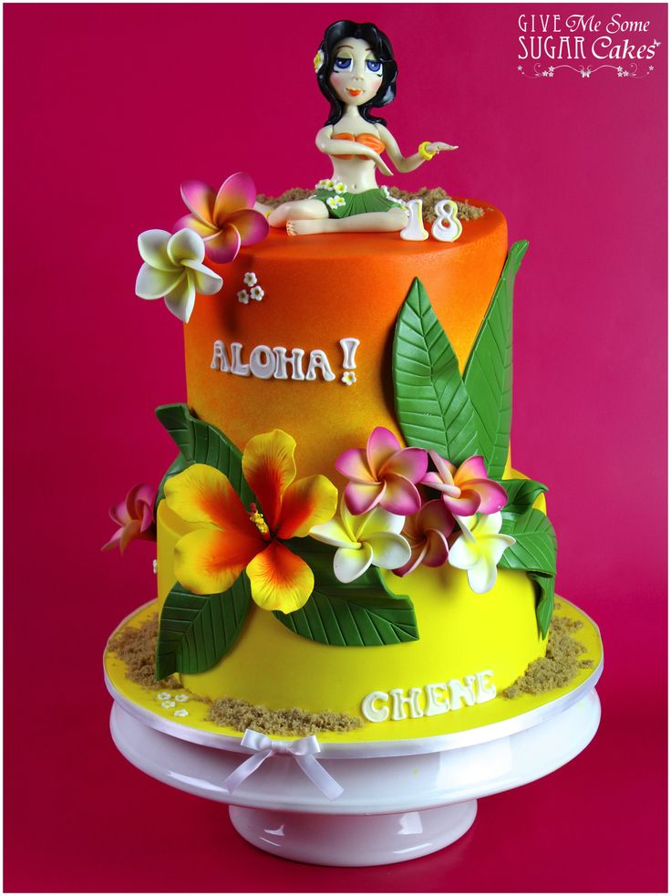 Hawaiian Birthday - I searched the internet high and low for Hawaiian cake inspiration ideas and i struggled to find one out there without water or palm tree decorations. So i decided to do something different and just use frangipani and hibiscus flowers. I am not a flower person and this cake was a true challenge for me!