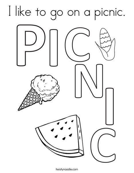 I Like To Go On A Picnic Coloring Page Twisty Noodle Coloring Pages Preschool Coloring Pages Cool Coloring Pages