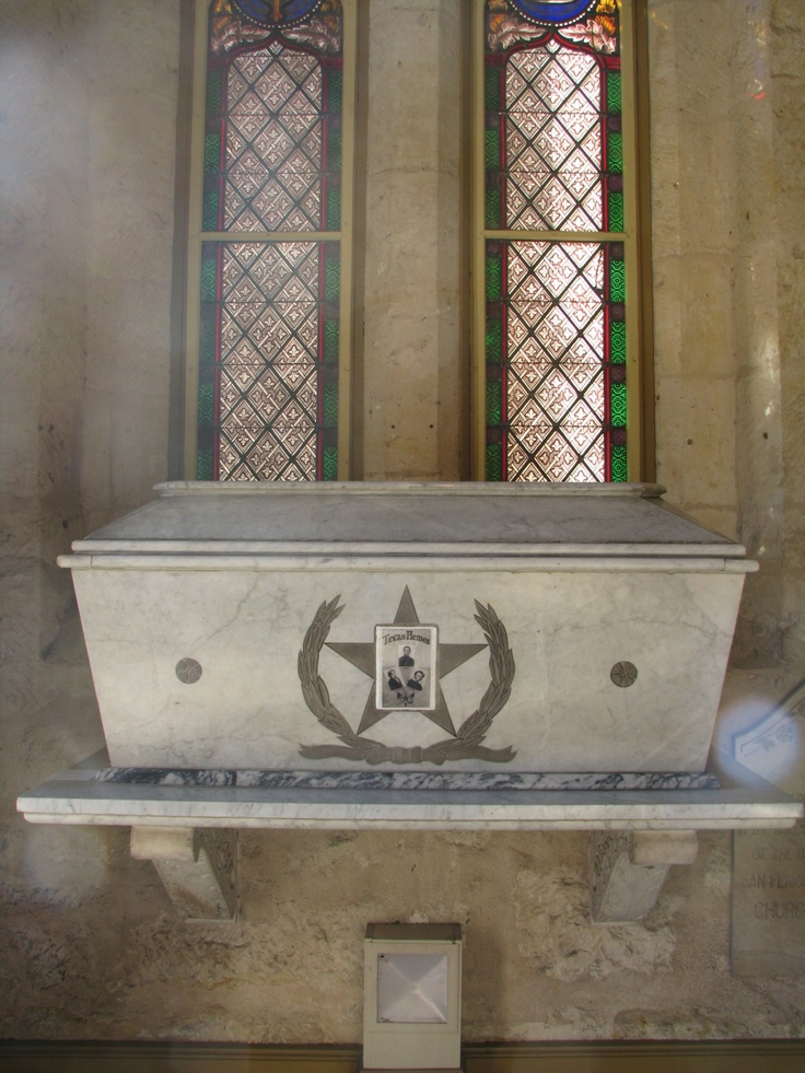 Sarcophagus Containing Remains of Alamo Heroes .... San Fernando Cathedral, San Antonio, Texas.  Did they come out to visit with me that day?