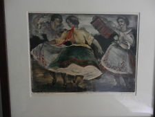 sziklay bela framed etching hand colorings 1900-1949 dancers  signed vintage