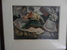 sziklay bela framed etching hand colorings 1900-1949 dancers  signed vintage
