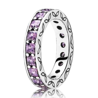 Pandora Silver Eternity Purple Cubic Zirconia Ring 190894CFP. With its entire band set with purple Cubic Zirconia stones, this full eternity ring from the Pandora Autumn Winter 2013 Collection represents everlasting love. Crafted from Sterling Silver, the side of the band is decorated with a delicate leaf pattern.