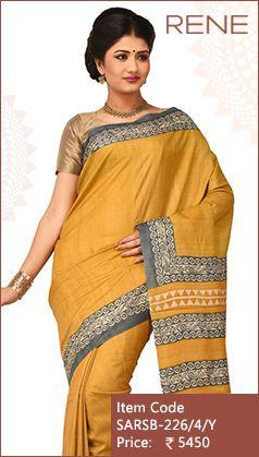 #ReneIndia #Yellow #Block #Print #Ethnicwear #Bengalee #Bengali #Kolkata #Westbengal #Traditional #Handloom #Tussar #Silk #Saree #FestiveWear available only on #Flipkart #Snapdeal #Paytm