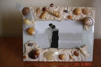 Artesanato com conchas do mar: 19 - MOLDURA COM CONCHAS E AREIA