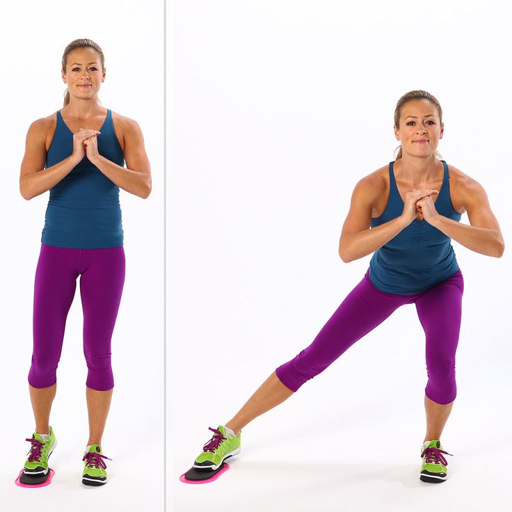 Beautiful strong legs: Single leg squats are one of the best exercises for your rear. In this move, as you slide your leg back to center, your inner thigh does a lot of work. If you don't have a disc as shown, use a paper plate, or gym towel.