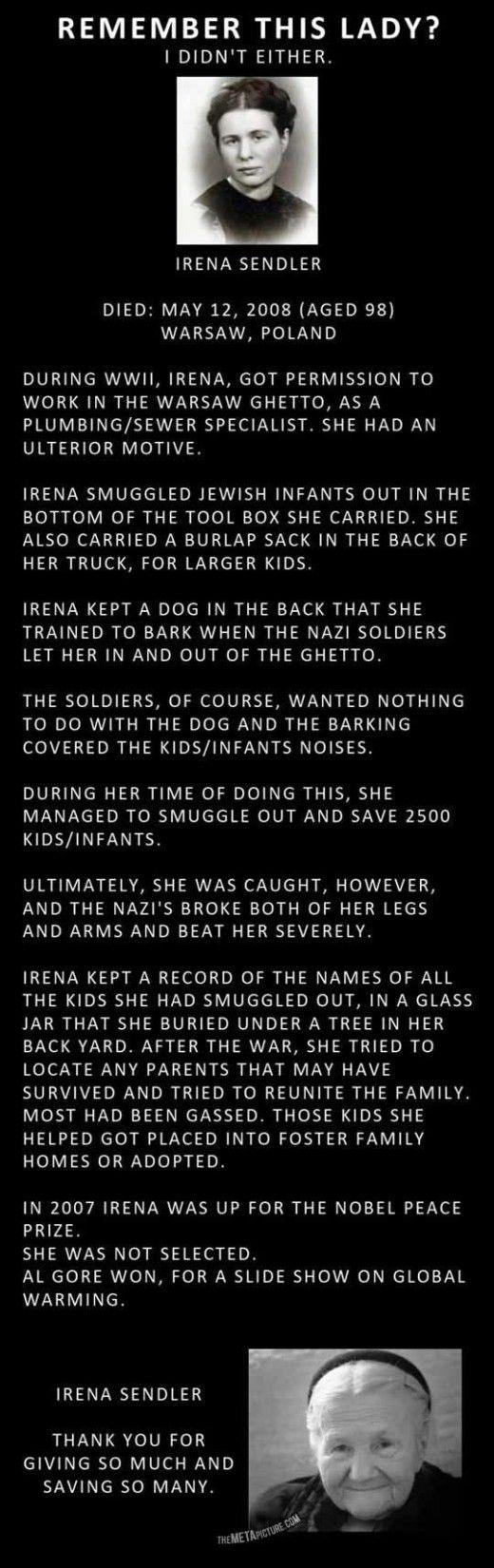 Irena Sendler -- savior of 2500 children in the Warsaw Ghetto