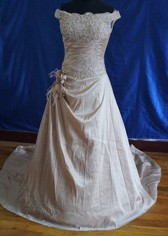 Champagne Wedding Dresses A Line : Line champagne wedding dresses ball gowns bridal gown bridesmaid dress