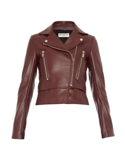 Balenciaga Leather Biker Jacket, $3450; matchesfashion.com