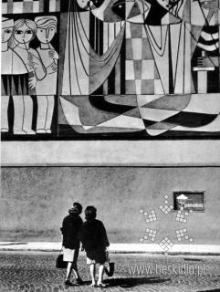 Mural teatru Banialuka Bielsko-Biala z roku 1966 Poland  autor:Jan Zipper