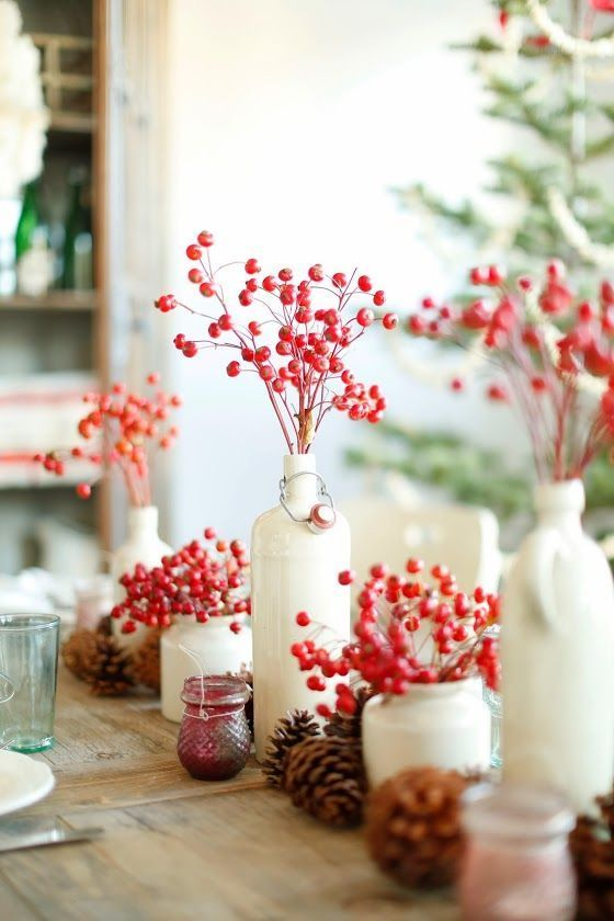 White bottles, red berries. Kitchen