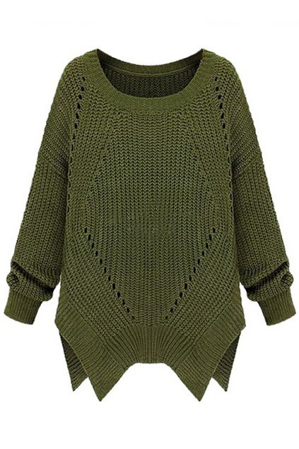 ROMWE | ROMWE Asymmetric Cut-out Long Sleeves Green Jumper, The Latest Street Fashion