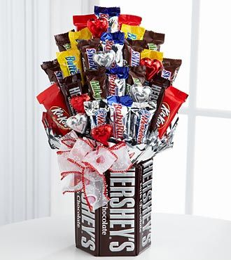 Sweets in Bloom® Chocolate Enchantment Valentine's Day Bouquet -  cute homemade teacher gift...in a vase maybe instead of the large chocolate bars