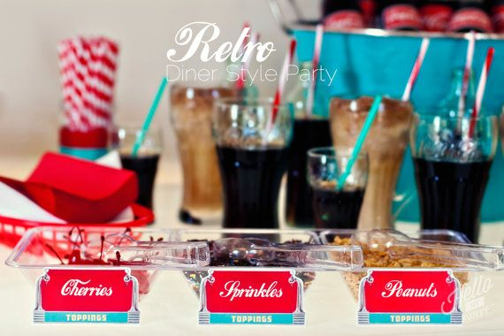 Retro Diner Party Soda Float Party Ice Cream by HelloMySweet