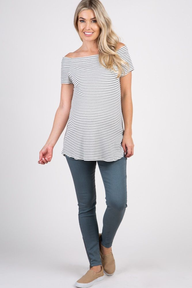 f98b1819006a7 Dark Teal Side Zipper Closure Maternity Denim Jeans | Maternity Clothes | Denim  jeans, Pink blush maternity, Cotton spandex
