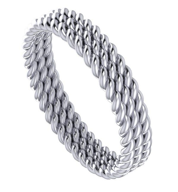 White gold treble twist wedding ring by Nude Jewellery.  #unusual #wedding #rings #band #modern #contemporary