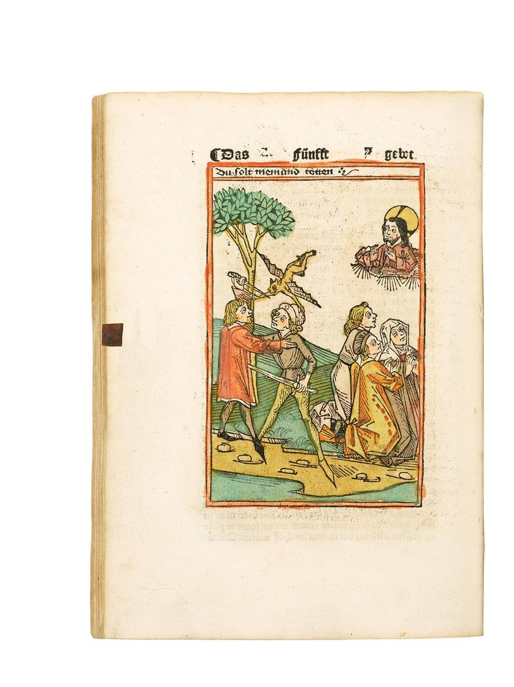 """""""Das ist der sele trost genannt"""". Second illustrated edition (repeating the woodcuts of the first). The text is a collection of exempla on the Ten Commandments, composed as dialogues between a confessor and his confessant."""