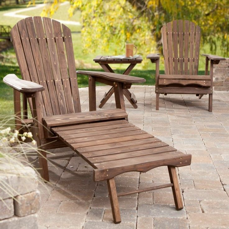Wooden Chairs Table Set Patio Lawn Furniture Outdoor Pool Lounge Dark Wood