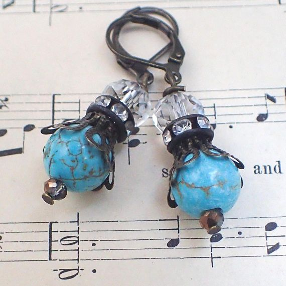 Victorian Earrings , Vintage Style Turquoise Earrings , Gift for Mom , Gift for Grandma Features : Antique bronze findings , antique bronze filigree , antique rhinestones , turquoise beads , clear crystal beads . With antique bronze lever back ear hooks. Romantic