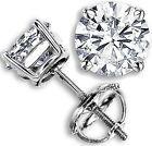 1.75 CT G-H SI GENUINE ROUND DIAMOND STUD EARRINGS 14K WHITE GOLD 100% NATURAL
