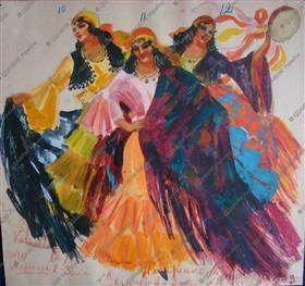 Costume Design. Carmen, Mercedes, Frasquita - Alexander Khvostenko-Khvostov