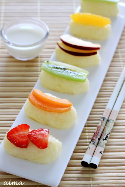 Fruit Sushi with coconut cream dip