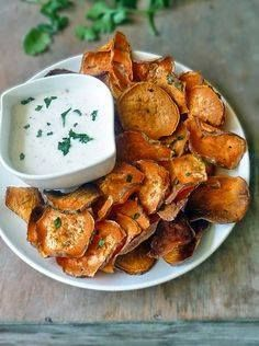 Sweet Potato Chips w Sweet Potato Chips with Garlic Aioli Dipping Sauce | by Life Tastes Good makes a healthy and delicious appetizer snack or even a side dish. Recipe : http://ift.tt/1hGiZgA And @ItsNutella  http://ift.tt/2v8iUYW  Sweet Potato Chips w Sweet Potato Chips with Garlic Aioli...