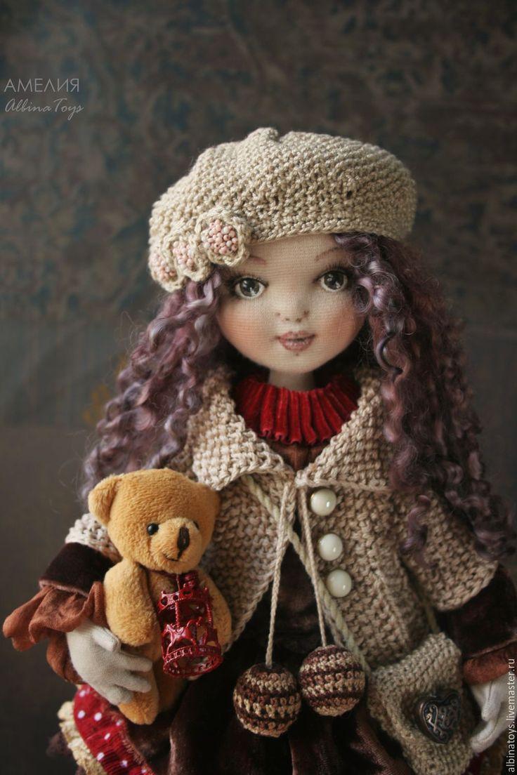 Купить Куклы.Текстильная коллекционная кукла Амелия. Бохо стиль. - бежево-коричневый, кукла