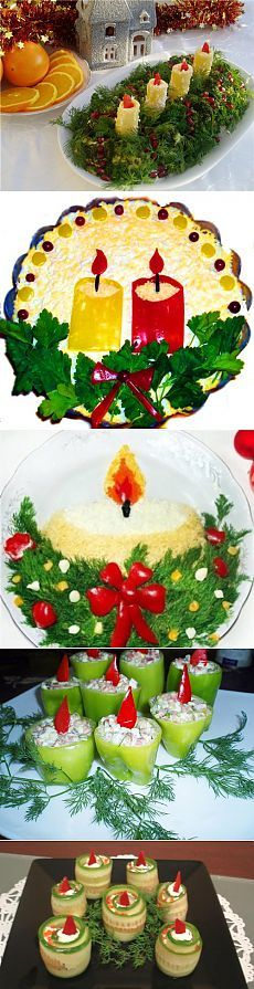 Съедобные новогодние свечи: салаты и закуски для новогоднего стола.
