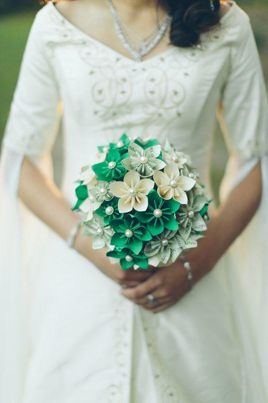 Paper flower wedding bouquet. Image: Cavanagh Photography http://cavanaghphotography.com.au