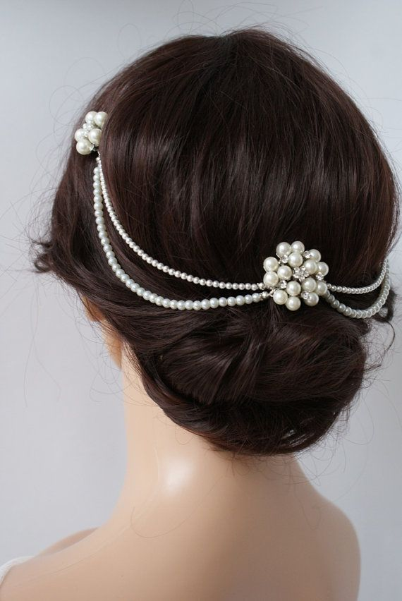 Wedding Headpiece with pearls pearl hair comb by RoseRedRoseWhite