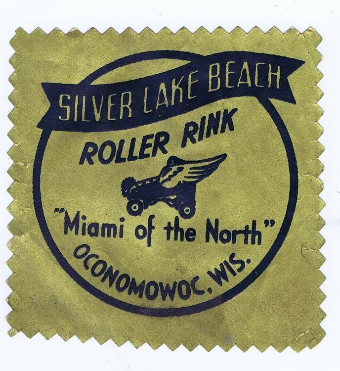 1950s roller skating rink label, Silver Lake Beach Oconomowoc WI, Miami #346