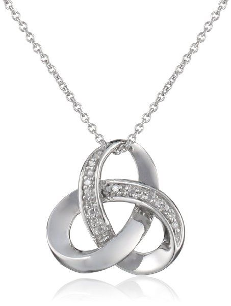 Sterling Silver Diamond Knot Pendant Necklace (0.025 cttw, I-J Color, I3), 18""